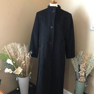 Halston Full Length Black Wool Cashmere Pea Coat